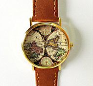 Map Watch Vintage Style Leather Watch Women Watches Boyfriend Watch World Map Men's Watch  Silver and Gold Case