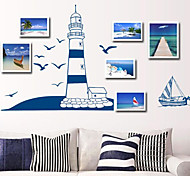 Multifunction DIY PVC Sailboat Seagull and Lighthouse Decorative Stickers