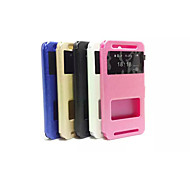2015 Newest Flip Case Window Support Silk Grain Simple pu pc  Mobile Phone Shell for Htc E8 Assorted Colors