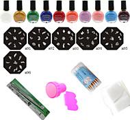 Nail Art Stamp Nail Printing Template (6Pcs Nail Plates + Stamper + Scraper  + 10 Colors Nail Stamp Polish)