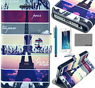 COCO FUN® Eiffel Tower Map Pattern PU Leather Case with Screen Protector and USB Cable and Stylus for iPhone 5/5S