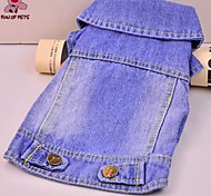 Cat / Dog Coat / Denim Jacket/Jeans Jacket Blue / Multicolored Dog Clothes Winter Jeans / National Flag Fashion