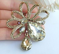 Elegant 2.56 Inch Gold-tone Topaz Rhinestone Crystal Drop Flower Brooch Art Decorations