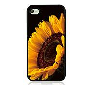 große Sonnenblume Leder Venenmuster Hard Case für iPhone 4 / 4s
