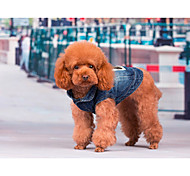 Blue Mixed Material Coats For Dogs