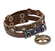 Punk Style Five Star Genuine Leather Bracelet(Brown)(1Pc)