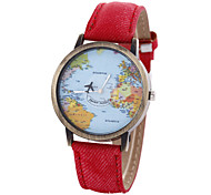 Unisex Watch Map  Strap Movement Watch