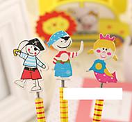 1PC Cute Cartoon Wooden  Pencil /Coil Spring Can Swing Pencil