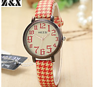 Women's Fashion  Simplicity Vintage Quartz Analog Houndstooth Cowboy Wrist Watch(Assorted Colors)