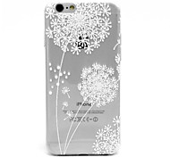 White Dandelion Pattern TPU Relief Back Cover Case for iPhone 6/6S