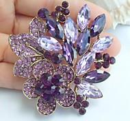 2.36 Inch Gold-tone Purple Rhinestone Crystal Flower Brooch Pendant Art Decorations