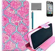coco fun® rode bloem tattoo patroon pu lederen tas met screen protector en usb-kabel en stylus voor iPhone 4 / 4s