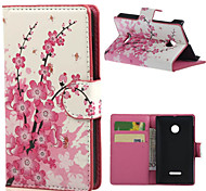 Luxury Pink Plum Blossom Wallet Leather With Card Slots Flip Cover Case For Microsoft  Nokia Lumia 435 Phone Bags Cases