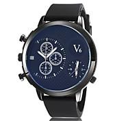 Mens Watches Fashion Dual Time Zone Motion Quartz Watches Silica Gel Wrist Watch