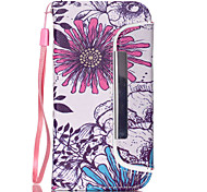 Large Purple Pattern PU Leather Free movement Wallet with Card Slot and Screen Protector for iPhone 5C