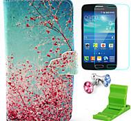 kapok patrón pu funda de piel con protector de pantalla y ponerse de pie y el enchufe del polvo para Samsung núcleo galaxia g386f lte