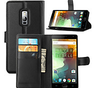 For OnePlus Case Card Holder / Wallet / with Stand / Flip Case Full Body Case Solid Color Hard PU Leather One Plus