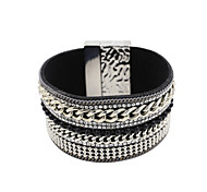 Fashion Women Multi Chain And Rhinestone Set Magnet Buckle Leather Bracelet