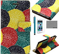 COCO FUN® Painting Circle Floral Pattern PU Leather Case with Screen Protector and USB Cable and Stylus for iPhone 6