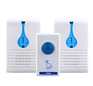 501k3 32-melodía inalámbricos de control remoto transmisor + 2 receptores timbre conjunto - blanco + azul