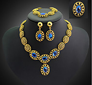 May Polly  European and American fashion banquet diamond necklace earrings bracelet ring set