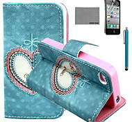 COCO FUN® Floral Heart Pattern PU Leather Case with Screen Protector and USB Cable and Stylus for iPhone 4/4S