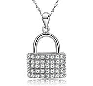 GL 925 Sterling Silver Lock Pendant / With O Chain / Necklace Pendant