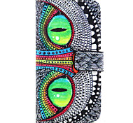 Green Eyes Pattern PU Leather TPU Full Body Case with Card Holder for Samsung Galaxy E7/E5