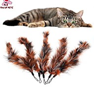 FUN OF PETS® 5 Pieces Large Brown Birds Feather Pet Dogs Cats Playing Stick Teasers Feathers Replace Head