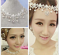 Women's Choker Necklaces Strands Necklaces Pearl Lace Rhinestone Simulated Diamond Alloy Jewelry Wedding Party 1pc