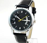 relojes de los hombres del reloj de la correa ocasional de la PU nuevo calendario negocio atmósfera madura