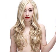 28-дюймовый блондинка парики из синтетических длинные вьющиеся парик женский
