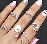 Women Fashion Zircon Leaves Pattern Three Piece Joint Ring Set