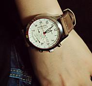 Herrenuhr Sport matte Leder Quarz Studenten Armbanduhr