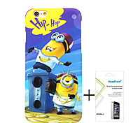 Minions Despicable Me Polishing Material Free with Headfore Tempered Glass Screen Protector for iPhone 6