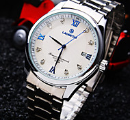 Men's Round Rome Number Diamond Dial Mineral Glass Mirror Stainless Steel Band Fashion Life Waterproof Mechanical Watch