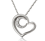 T&C Women's Lovely Jewelry 18k White Gold Plated Clear Crystal Heart and Moon Pendant Necklace