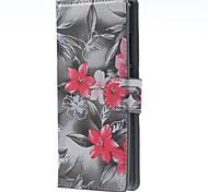 Fashion Red Black Flower Pattern PU Leather Hard Case with Stand for Huawei P8 Lite