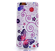 Purple Butterfly Pattern Slim Transparent Soft Phone Case for iPhone 6