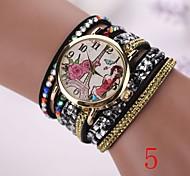 neue Mode Frauen kleiden Armbanduhrweinlese Quarz-analoge Uhr neuen Armband-Quarz-Armbanduhr-PU-