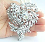 Wedding 3.15 Inch Silver-tone Clear Rhinestone Crystal Love Heart Brooch Bridal Bouquet