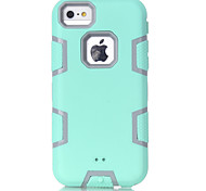 Light Green Silicone PC Triple Phone Case for iPhone 5C (Assorted Colors)