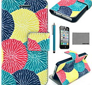 COCO FUN® Painting Circle Floral Pattern PU Leather Case with Screen Protector and USB Cable and Stylus for iPhone 4/4S