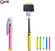 Colorful Selfie Cable-connected Monopod for Iphone6,Extendale Handheld Selfie Stick with Big Mirror