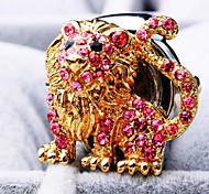 Women's New Fashion Round Lion Shape of Diamond Dial Steel Strap Quartz Ring Watch (Random Color)