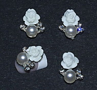 Fashion Wedding Finger Nail Jewelry Alloy/Imitation-pearl/Resin Flower Nail Stickers 10pcs