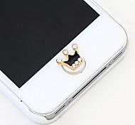 Black Crown Zircon Home Button Sticker for iPhone