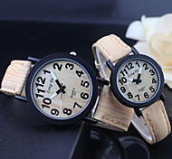 Couple's Watch Vintage Wooden Surface Quartz PU Band Cool Watches Unique Watches