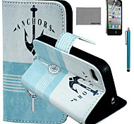 COCO FUN® Anchor Compass Pattern PU Leather Case with Screen Protector and USB Cable and Stylus for iPhone 4/4S