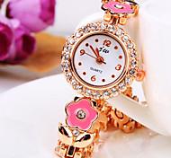 nova maré atual forma de flor com ligação diamante redondo banda liga de moda pulseira quartzo relógio das mulheres (cores sortidas)